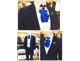 帥俊時尚西服 精緻時尚韓版修身寶石藍西服,獨特花紋設計面料.